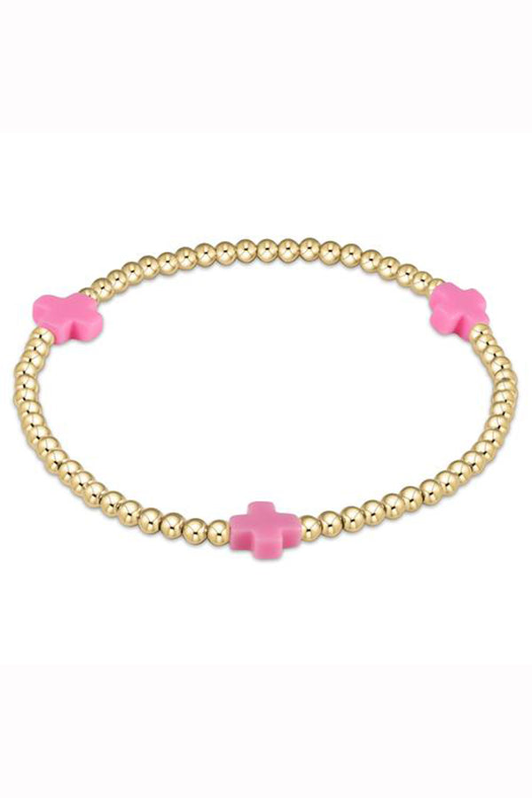 EN Gold Signature Cross Pattern Bracelet 3mm - Bright Pink