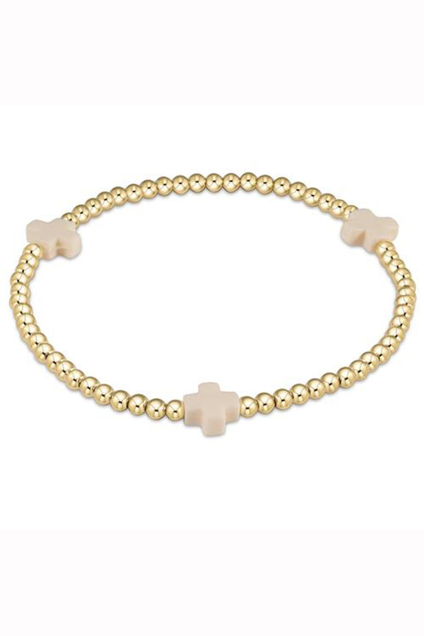 EN Gold Signature Cross Pattern Bracelet 3mm - Off White