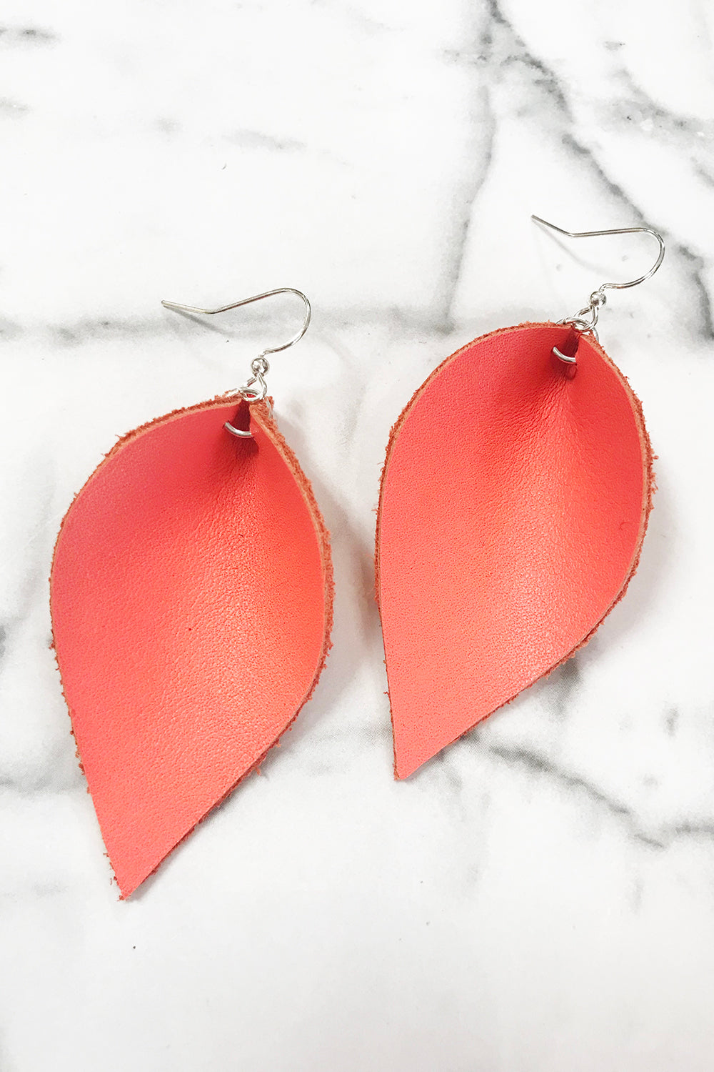 Leather Leaf Earring - Bright Coral