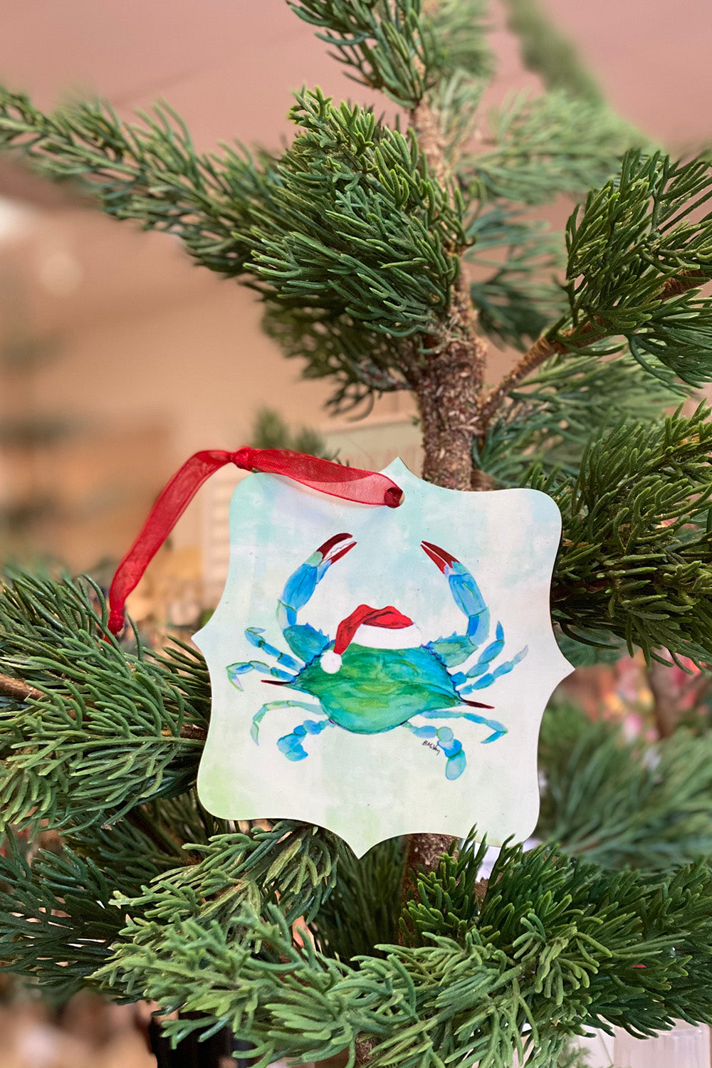 Local Ornament - Crab with Santa Hat