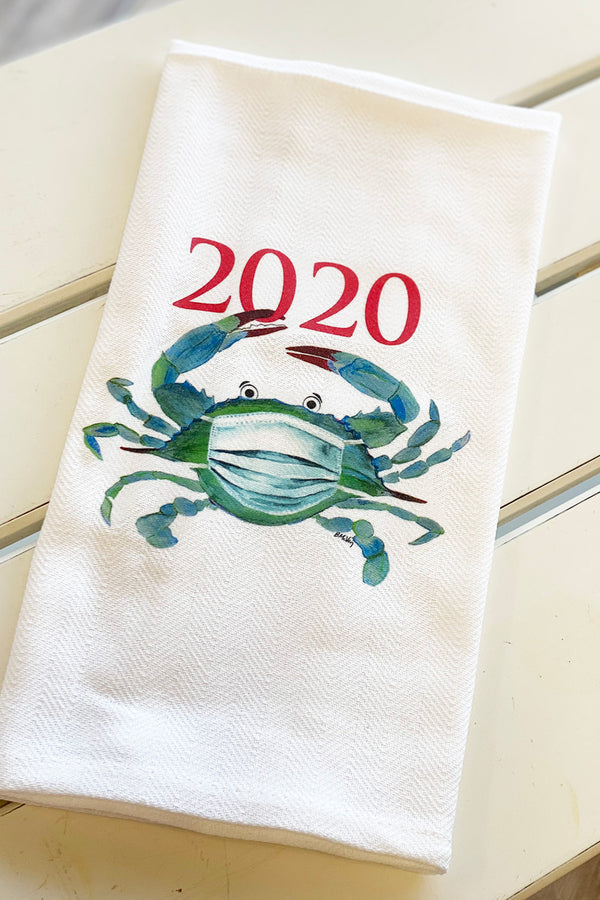 Local Holiday Kitchen Towel - 2020 Crab in Face Mask