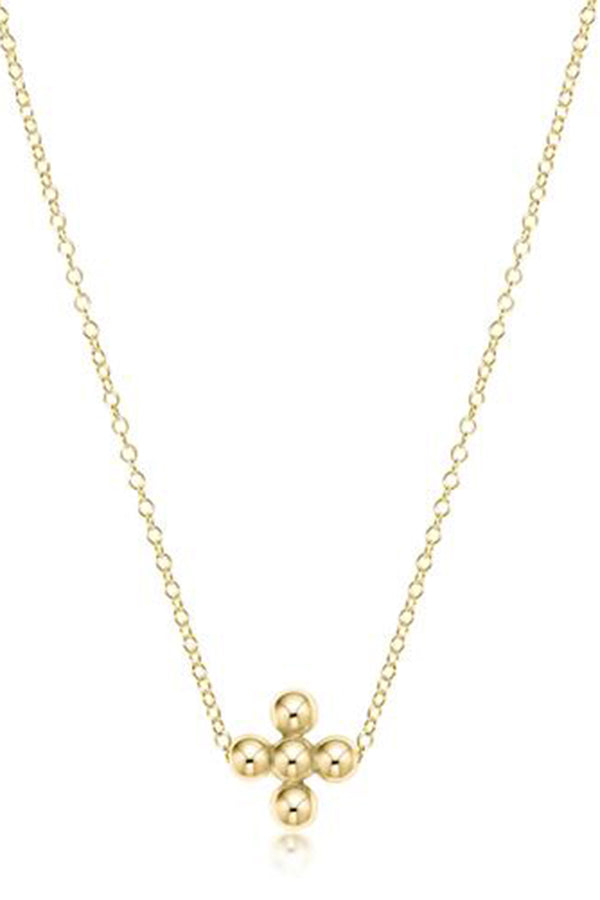 EN Classic Beaded Cross Necklace - Gold