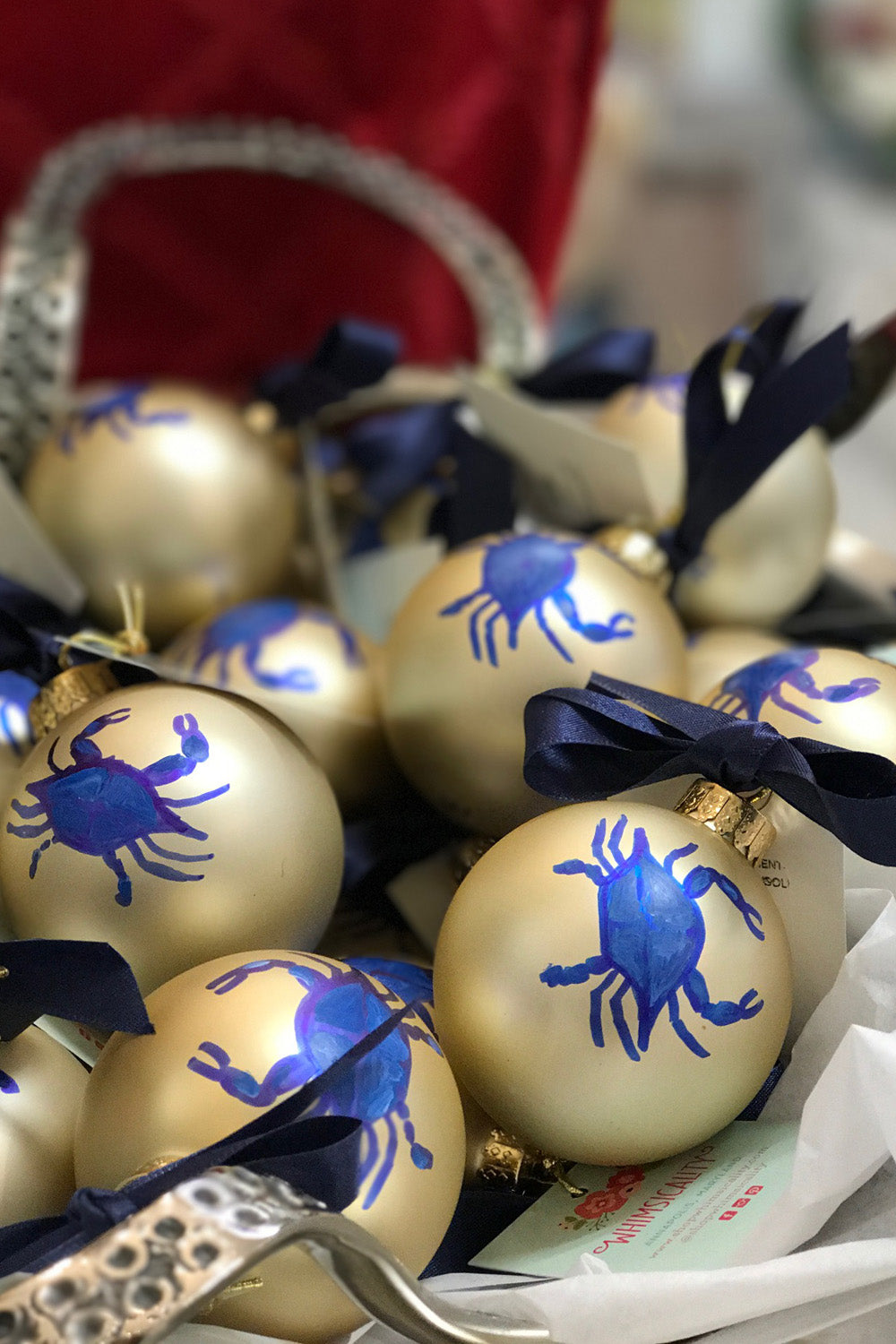 Glass Ornament - Blue Crab Holiday Ball