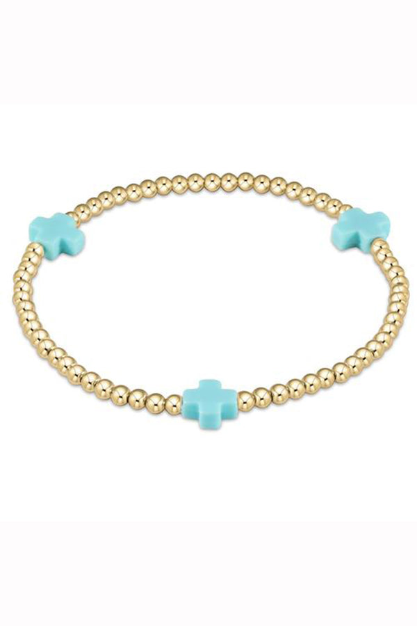 EN Gold Signature Cross Pattern Bracelet 3mm - Turquoise
