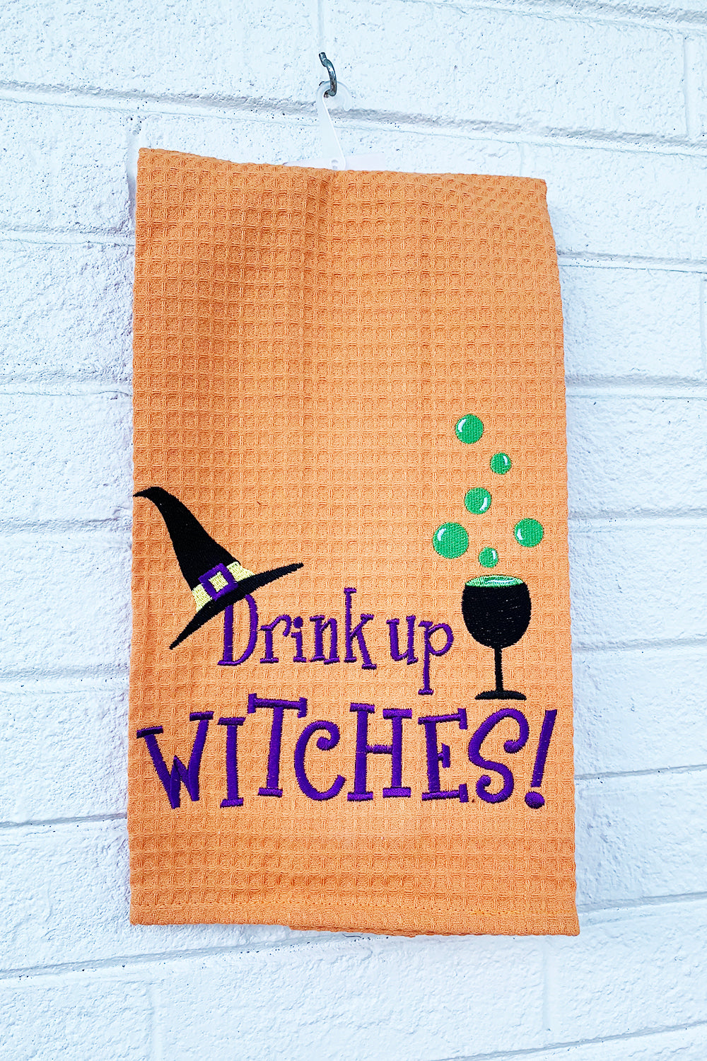 "Holiday Waffle Towel - ""Drink up Witches"""