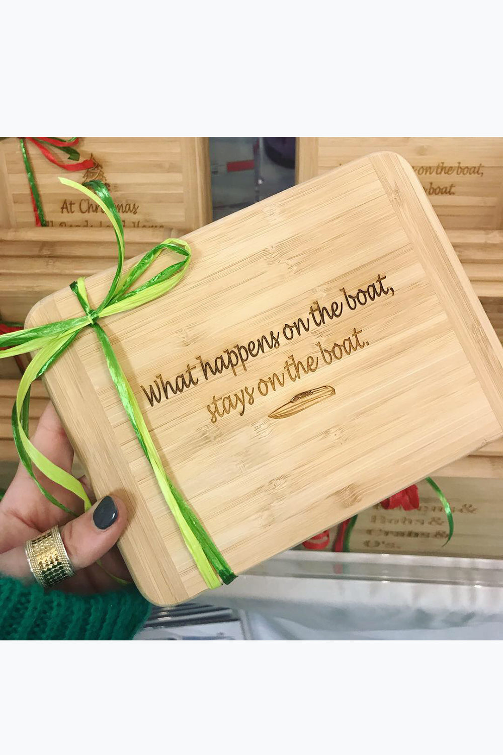 "Bamboo Cutting Board - ""What happens on the boat..."""