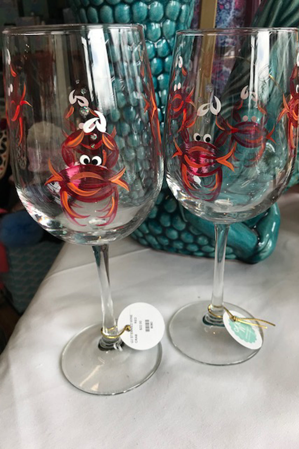 Crab Stemmed Wine Glass - Red