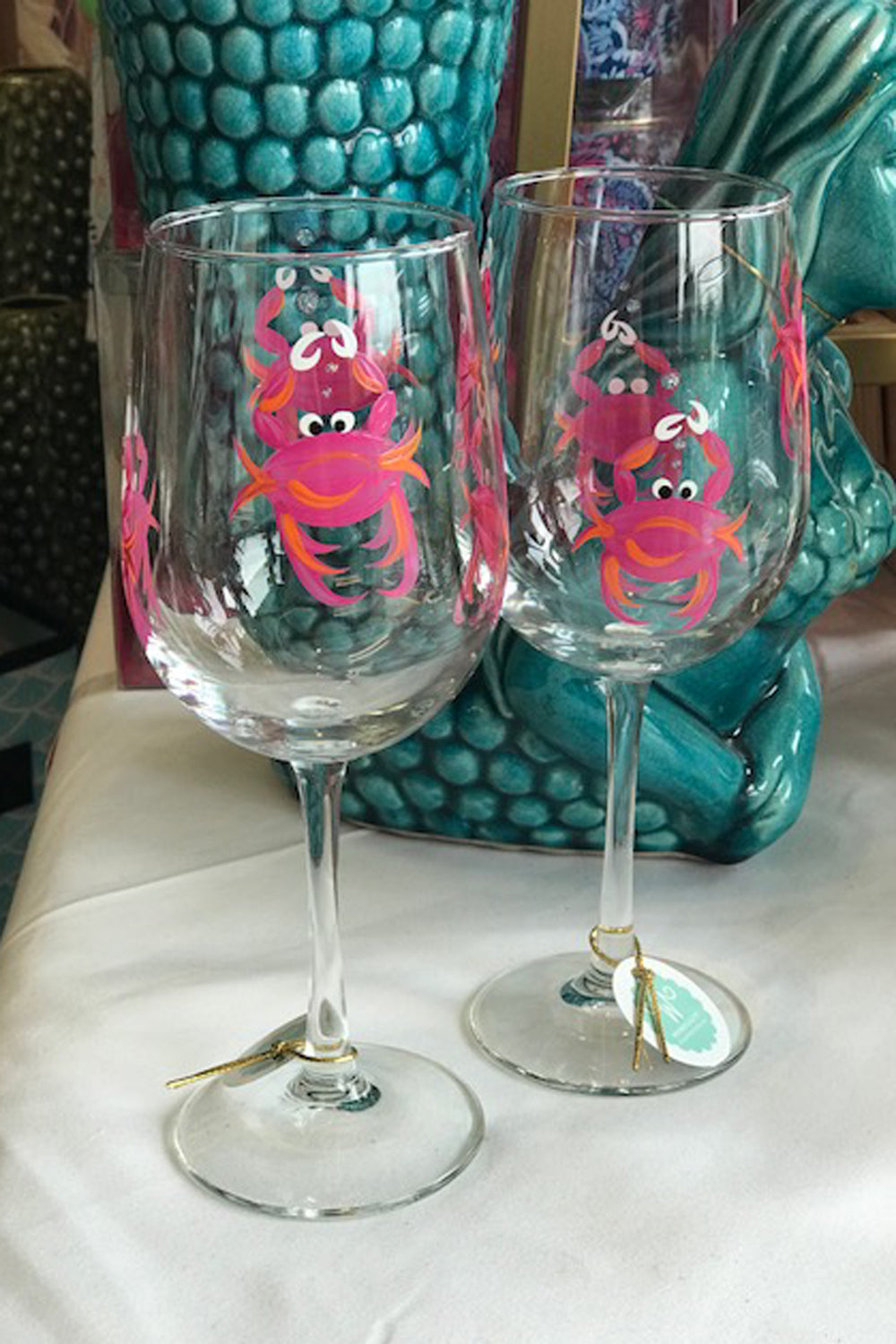 Crab Stemmed Wine Glass - Pink