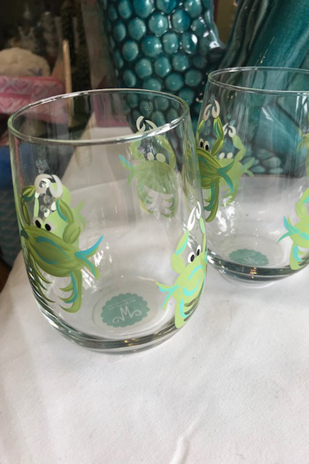 Crab Stemless Wine Glass - Green