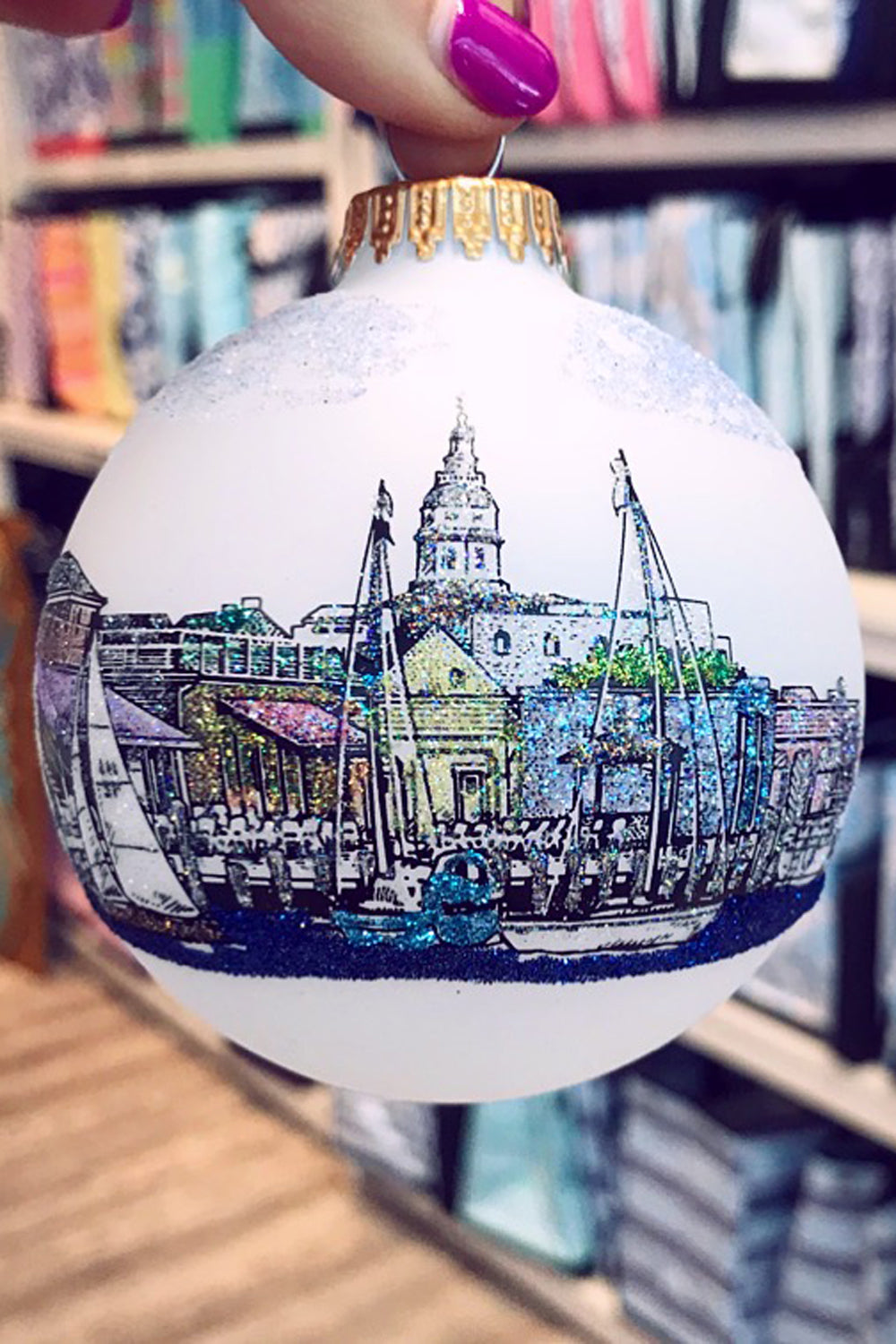 Downtown Annapolis Exclusive Glass Ornament