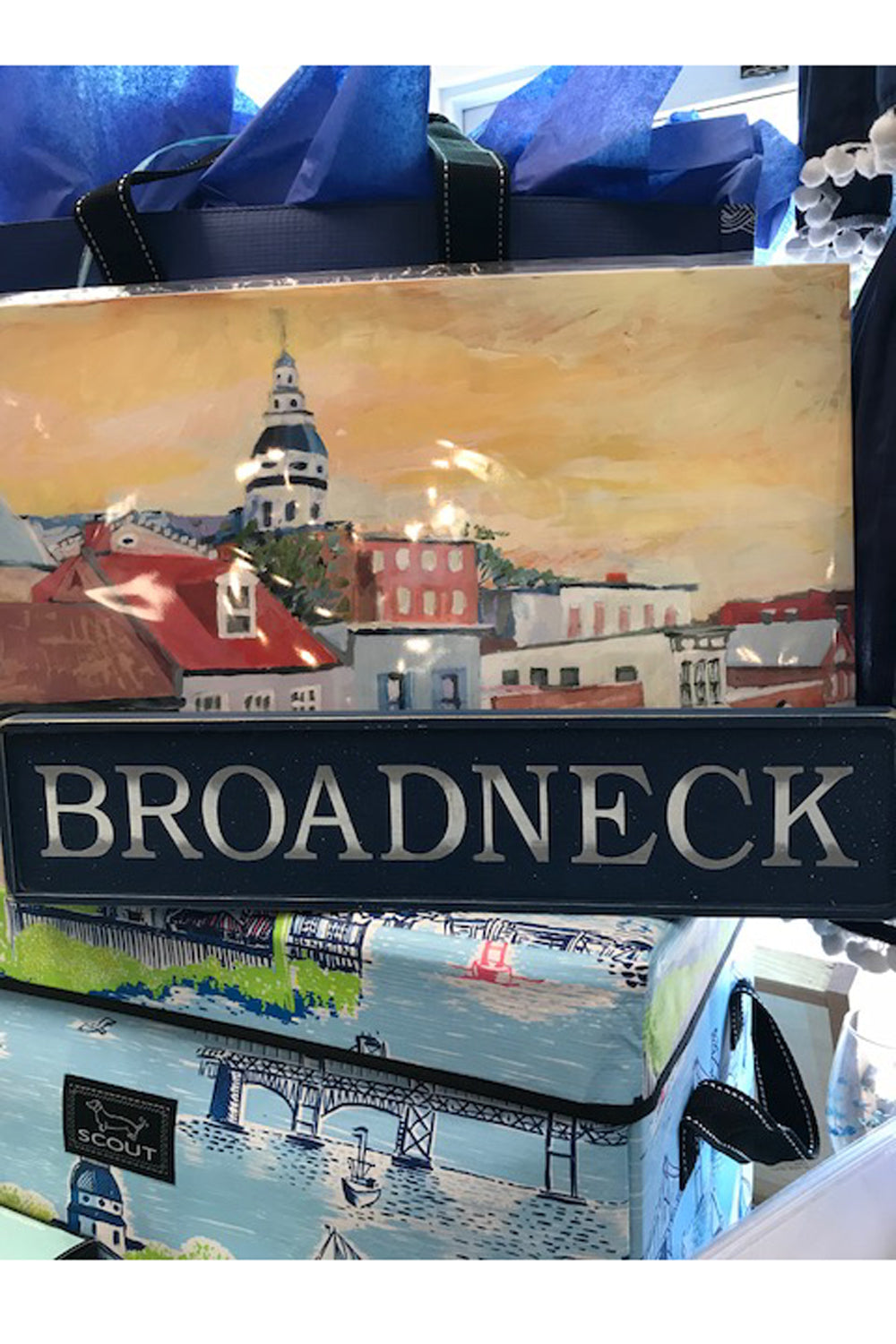 Local Wooden Places Sign - Broadneck on Navy