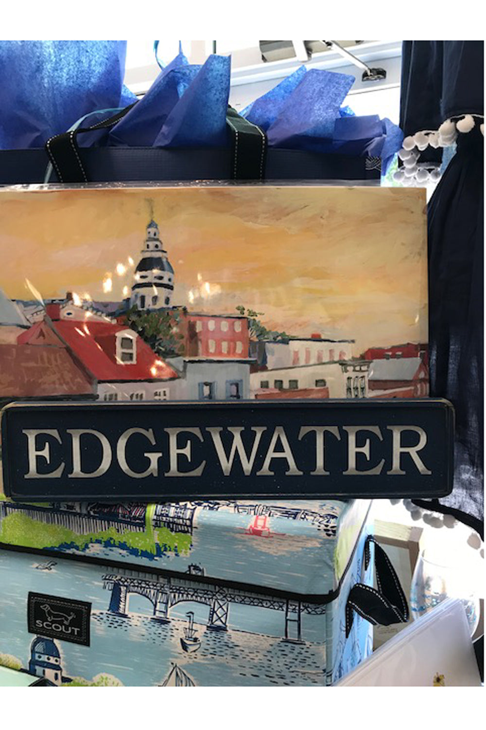 Local Wooden Places Sign - Edgewater on Navy