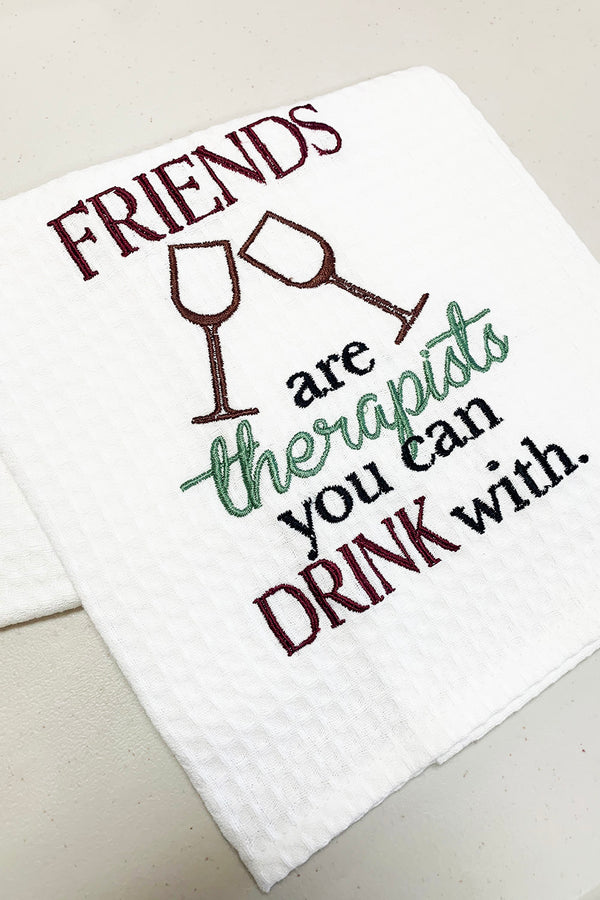 Waffle Dish Towel - Friends are Therapists