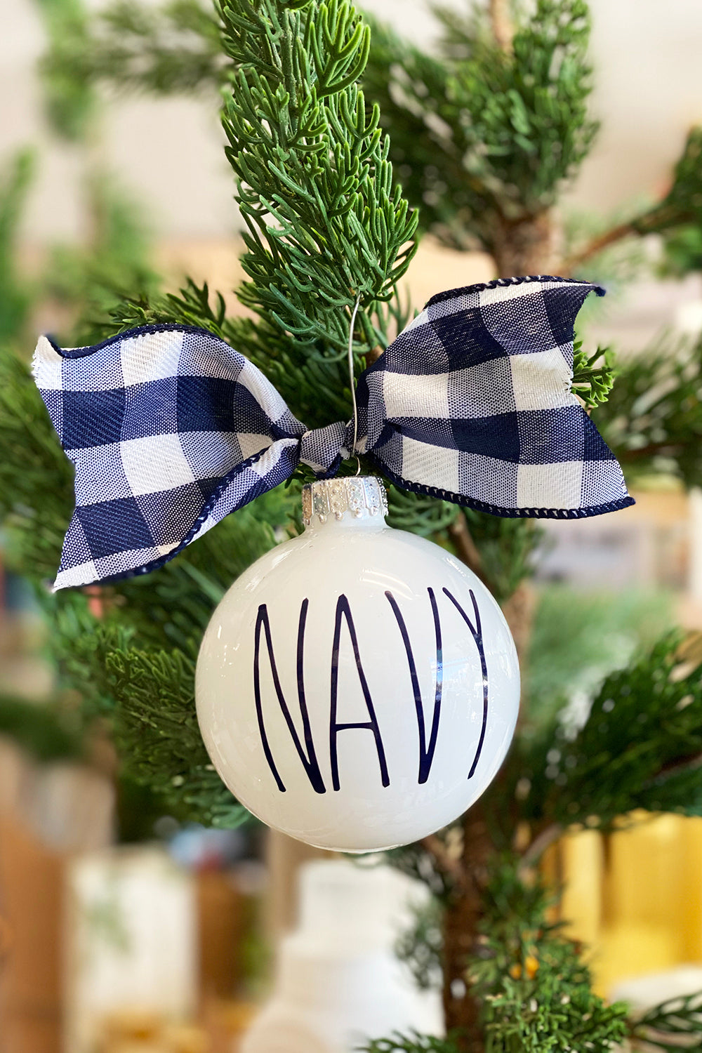 Glass Ornament - DJ Navy Blue Check - Navy