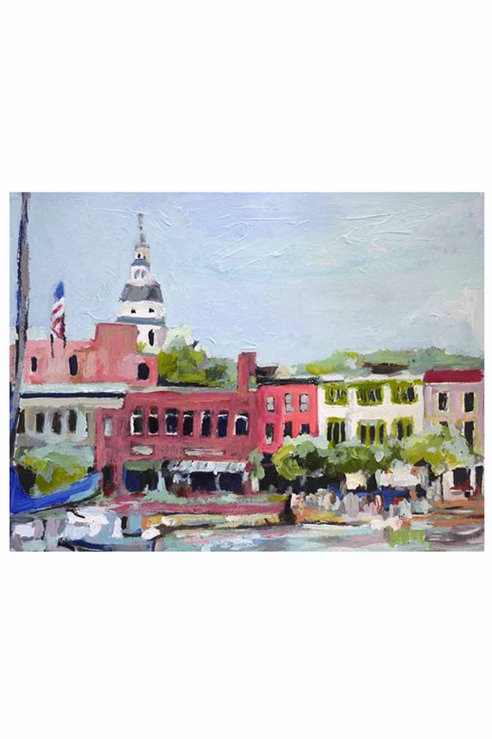 Kim Hovell Matted Print - Market Street Annapolis