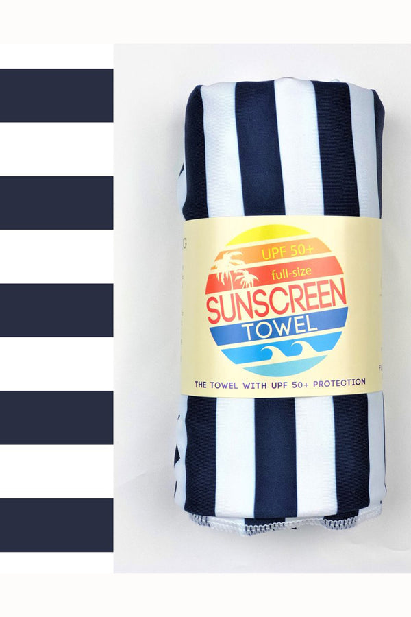 UPF 50+ Sunscreen Towel Full Size - Navy Stripes