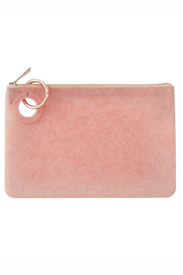 Silicone Pouch Large - Rose Gold Confetti
