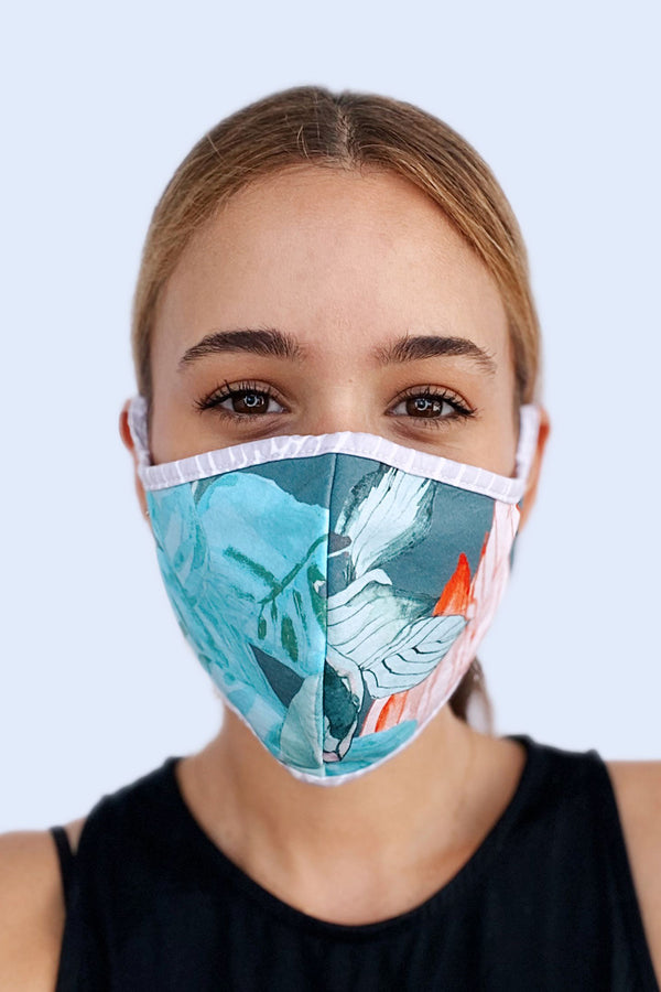 Reversible Face Mask - Sage Tropics