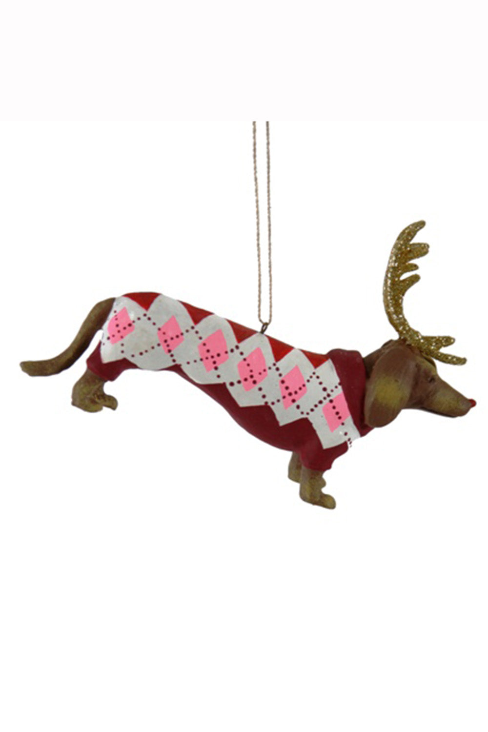 Resin Ornament - Dachshund Sweater Through the Snow