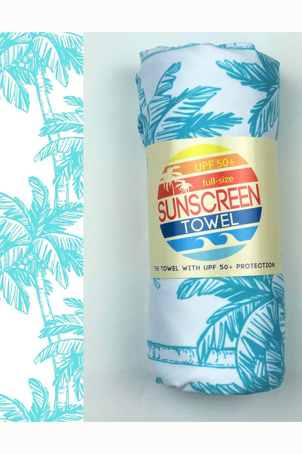UPF 50+ Sunscreen Towel Full Size - Blue Palm Tree