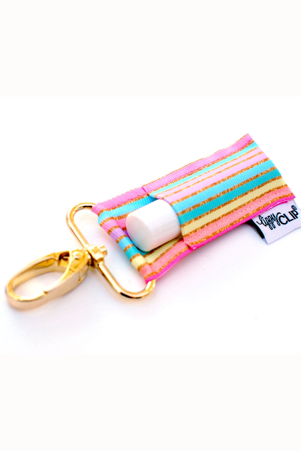 LippyClip Chapstick Holder Keychain  - Pastel & Gold Stripes
