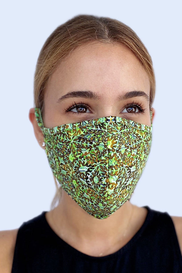 Reversible Face Mask - Lime Aztec