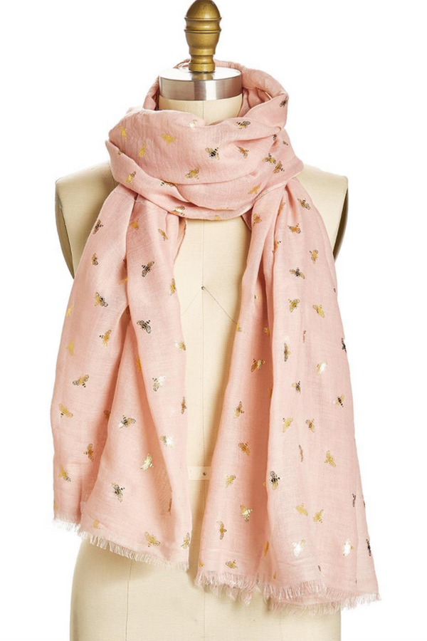 Bee Pattern Scarf - Pink