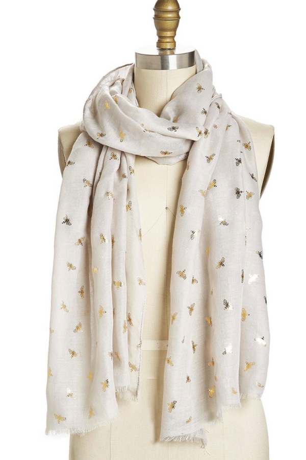 Bee Pattern Scarf - Gray