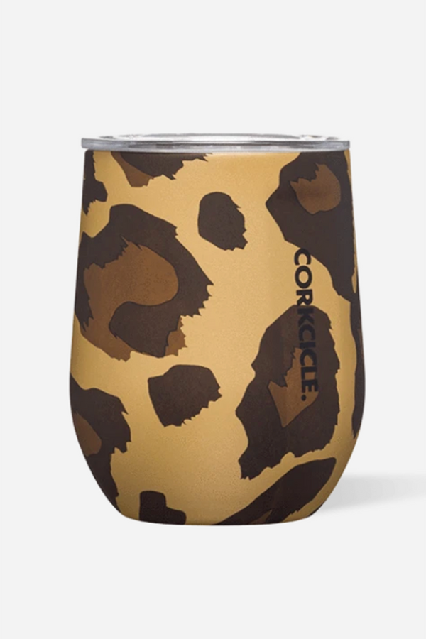 Modern Corkcicle Stemless Wine Tumbler - Luxe Leopard