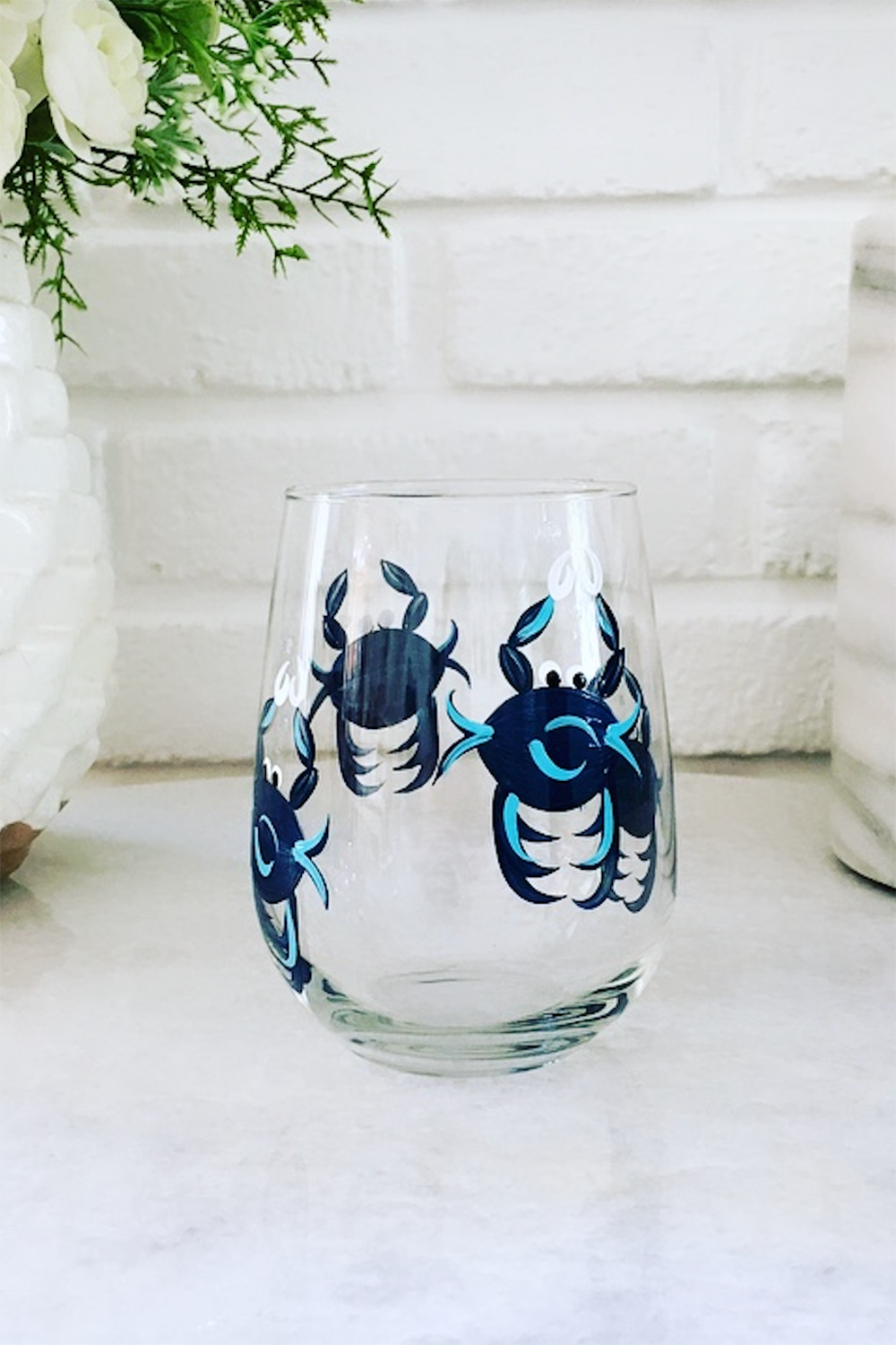 Stemless Wine Glass - Navy Blue Crab