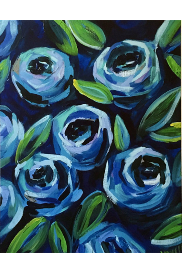 Kim Hovell Matted Print - Blooming Blue