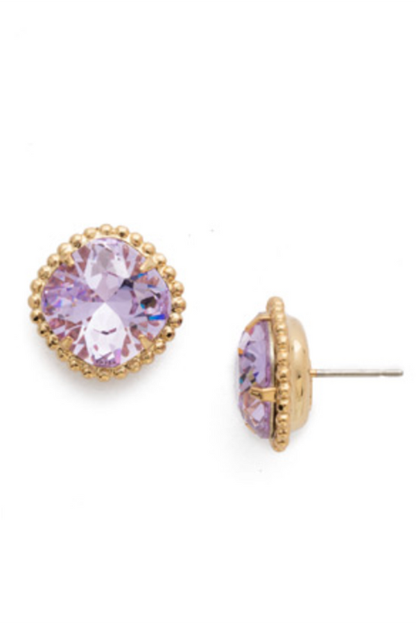 Cushion Cut Solitaire Stud Earring - Violet