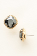 Cushion Cut Solitaire Stud Earring - Hematite