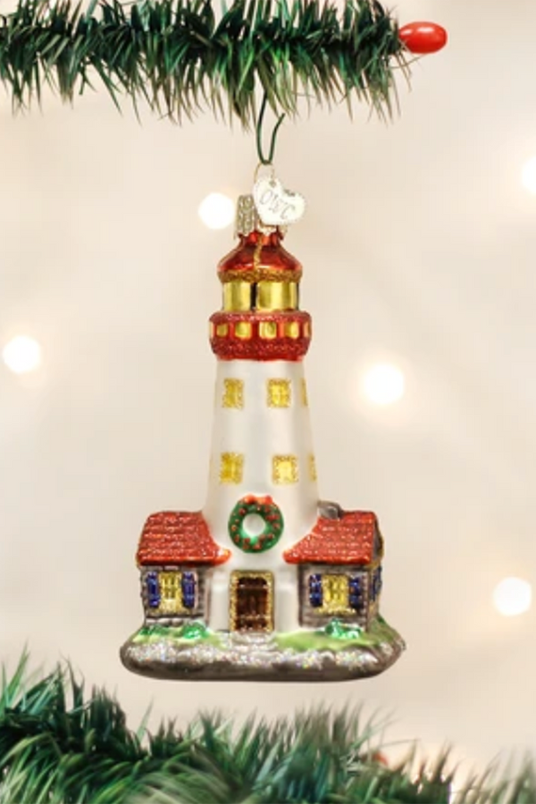 Glass Ornament - Lighthouse with Wreath