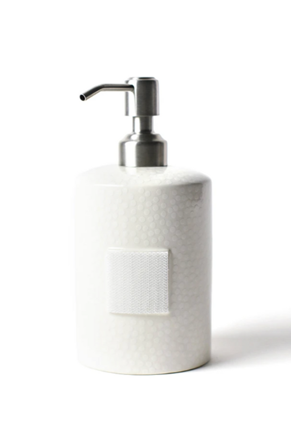 Mini Cylinder Soap Pump - White Small Dot
