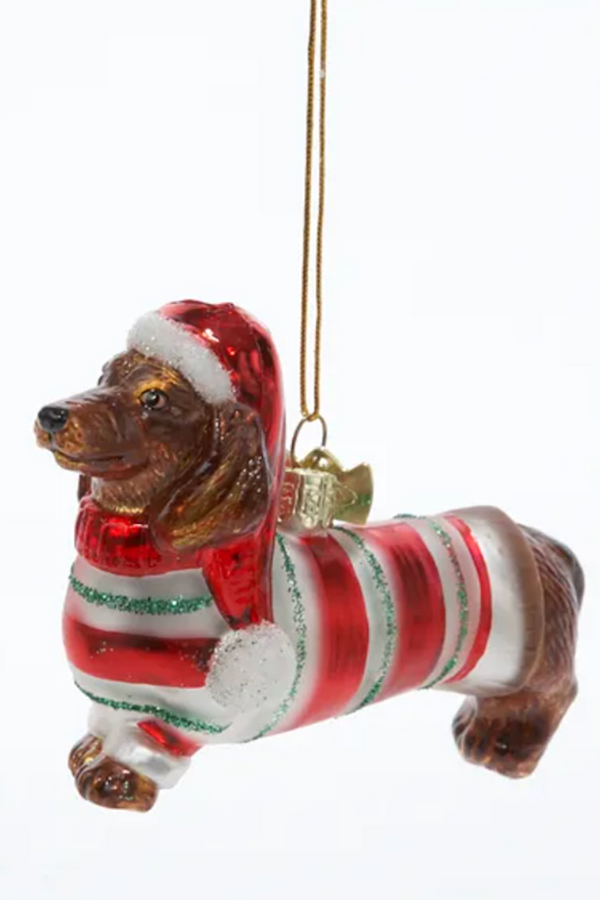 Glass Ornament - Dachshund in Sweater