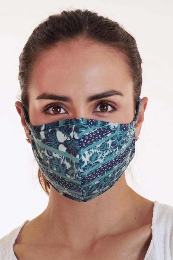 Reversible Face Mask - Teal Stripe Floral