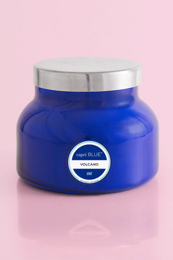Large Signature Candle - Volcano - Cobalt Blue