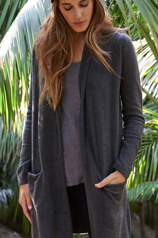Bamboo Chic Essential Long Cardi - Carbon Dark Gray