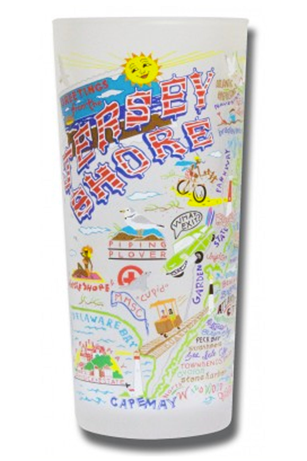 CS Frosted Glass Tumbler Cup - Jersey Shore