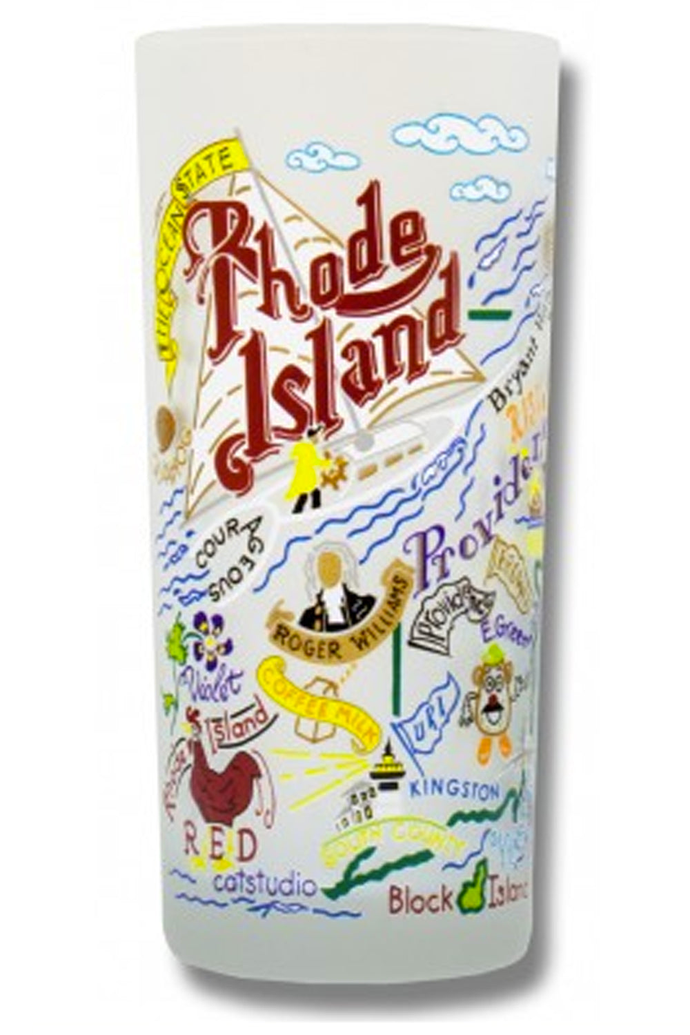 CS Frosted Glass Tumbler Cup - Rhode Island