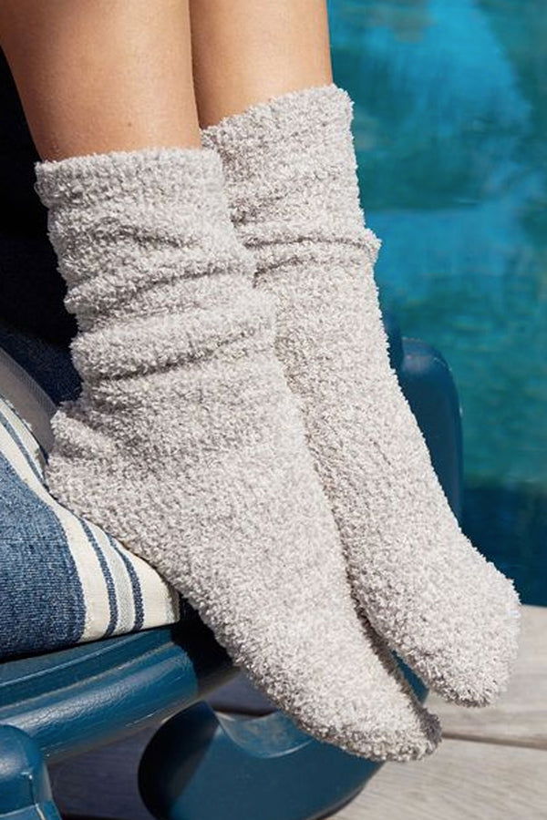 CozyChic Heathered Sock - Oyster White
