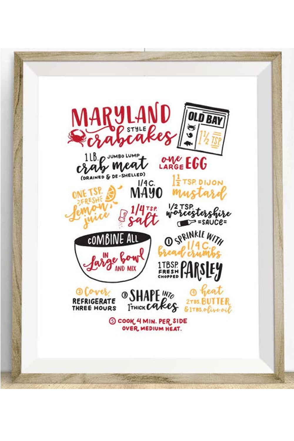 Locally Designed Print - Maryland Crabcake Recipe