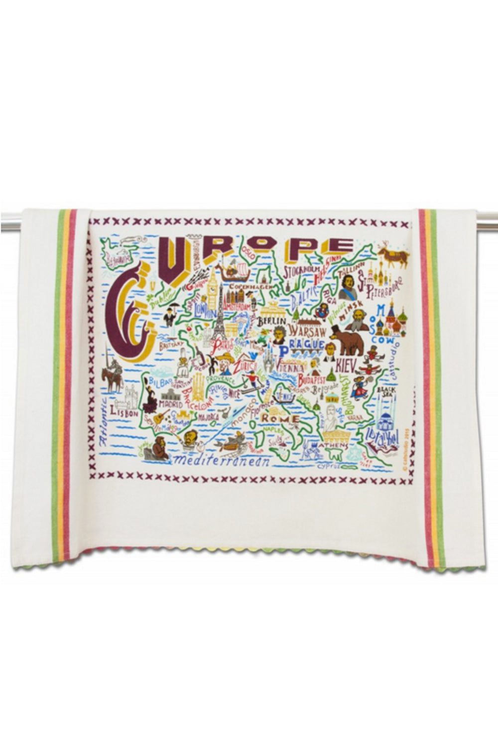 Embroidered Dish Towel - Europe
