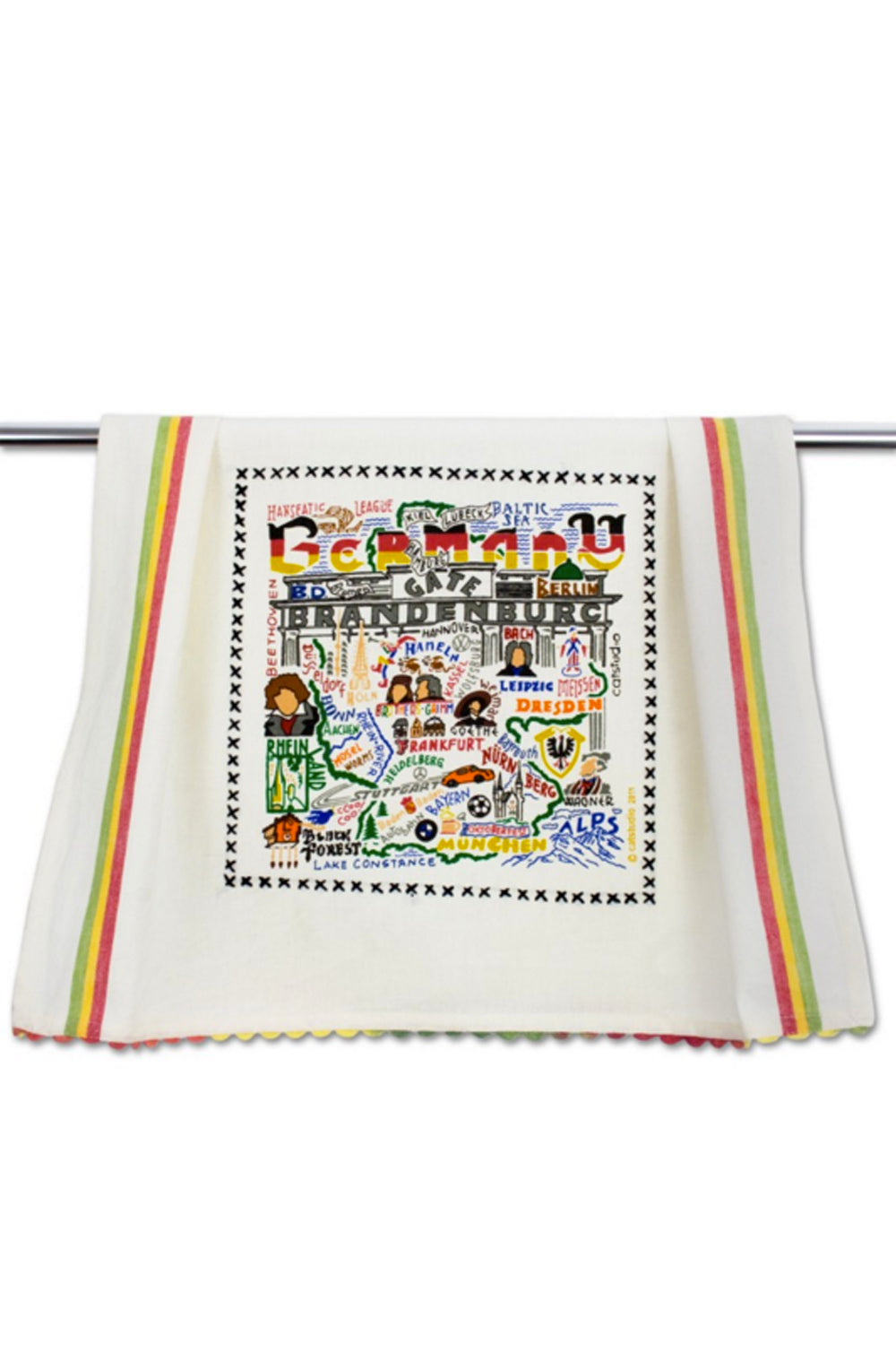 Embroidered Dish Towel - Germany