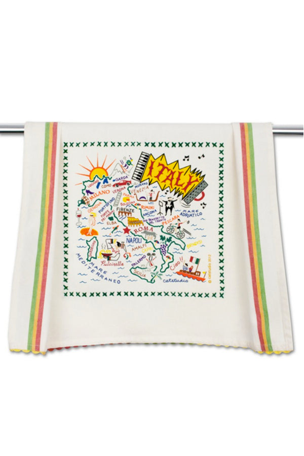 Embroidered Dish Towel - Italy