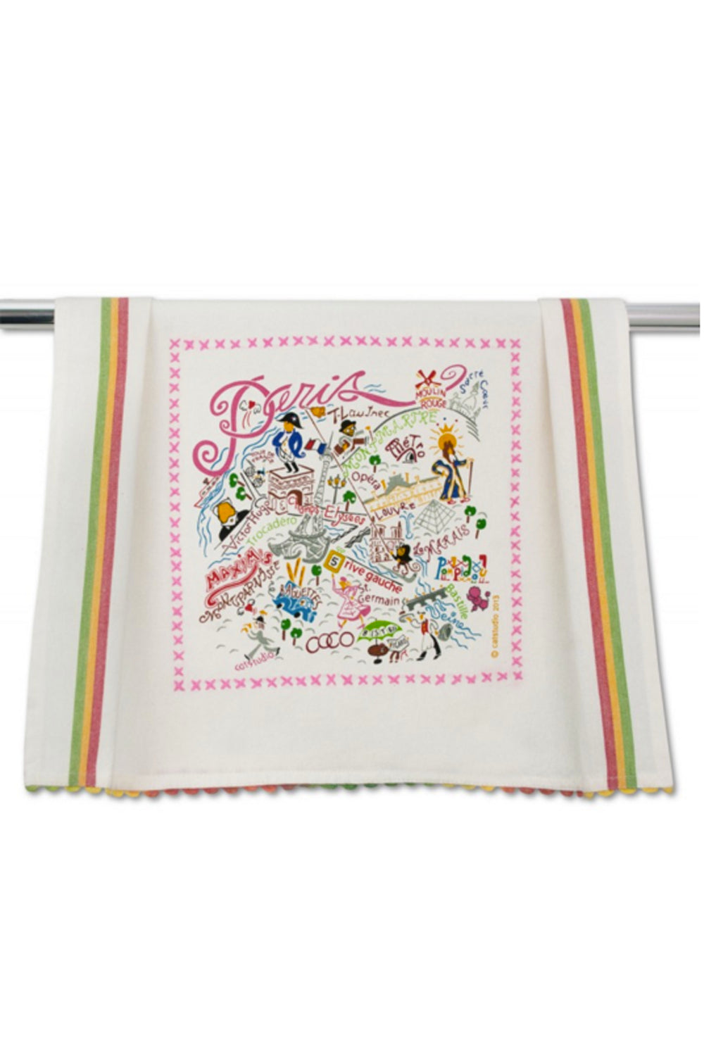 Embroidered Dish Towel - Paris