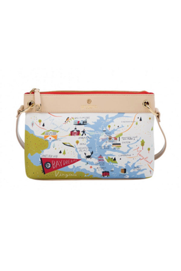 Destination Map Crossbody Purse - Bay Dreams