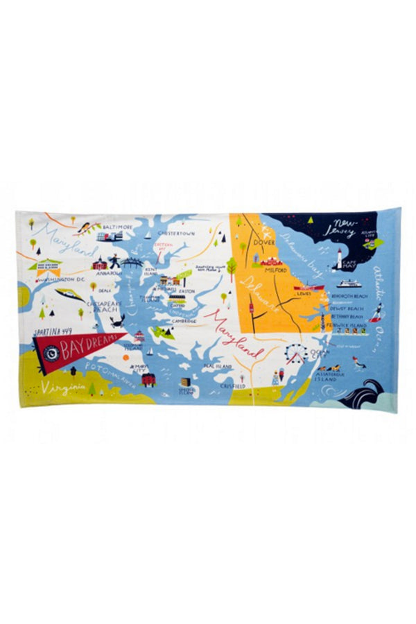 Destination Map Beach Towel - Bay Dreams