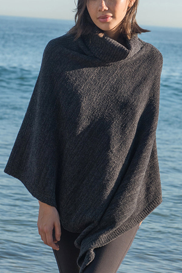 CozyChic Point Dume Poncho - Black & Carbon